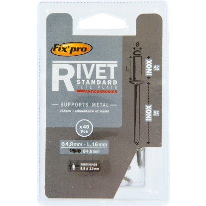 Rivet aveugle tête plate inox / inox A2 Fix'Pro - Longueur 16 mm - Diamètre 4,8 mm - Vendu par 40