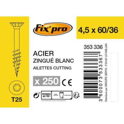 Vis à bois tête fraisée TX - 4,5x60/36 - 250pces - Fixpro
