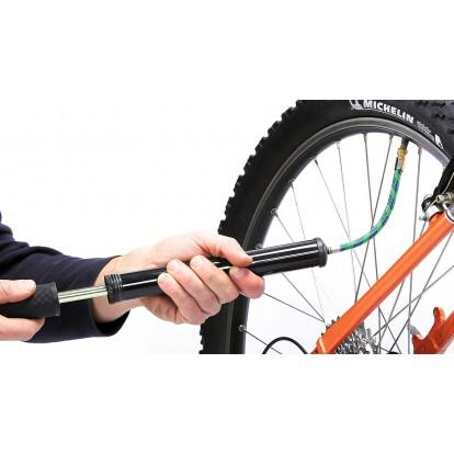 Pompe à main double embout avec raccord et supports de fixation au vélo Durca - Longueur 300 mm