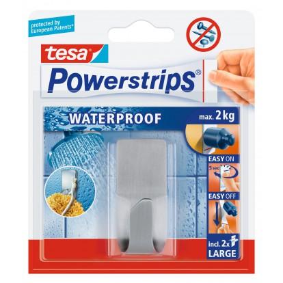 Crochet adhésif Powerstrips waterproof Tesa - Crochet rectangulaire métal - Vendu par 1