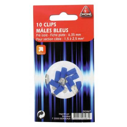 Clip mâle pré isolé Dhome - Bleue - Diamètre 6,35 mm - Vendu par 10