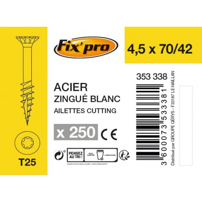 Vis à bois tête fraisée TX - 4,5x70/42 - 250pces - Fixpro