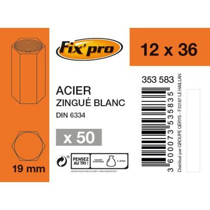 Ecrou de jonction acier zingué - 12x36 - 50pces - Fixpro