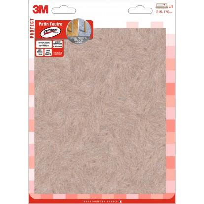Patin adhèsif feutre laine marron 3M- Rectangle - Dimensions 215 x 170 mm - Vendu par 1