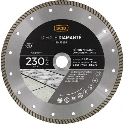 Disque diamanté béton granit crénelé SCID - Diamètre 230 mm