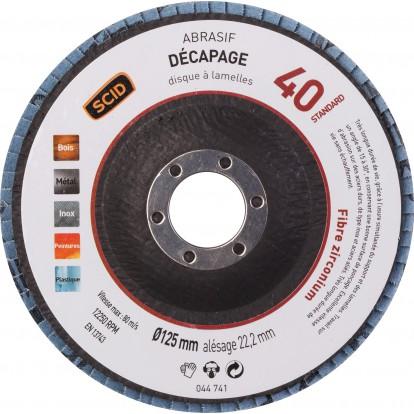 Disque à lamelles zirconium standard diamètre 125 mm SCID - Grain 40 - Vendu par 1