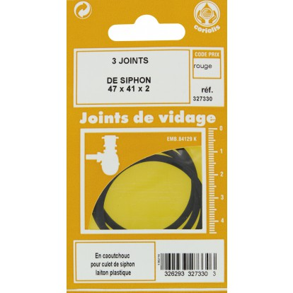Joint de culot de siphon Gripp - Diamètre extérieur 47 mm - Intérieur 41 mm - Vendu par 3