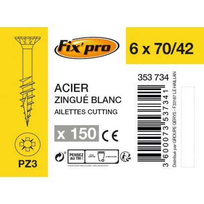 Vis à bois tête fraisée PZ - 6x70/42 - 150pces - Fixpro
