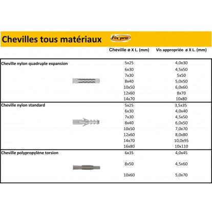 Cheville polypropylène Torsion Fix'Pro - Longueur 60 mm - Diamètre 10 mm - Vendu par 100