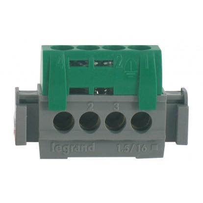 Bornier 1 fonction Legrand - 4 trous - Vert