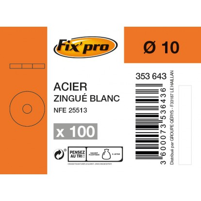 Rondelle carrossier acier zingué - Ø10mm - 100pces - Fixpro