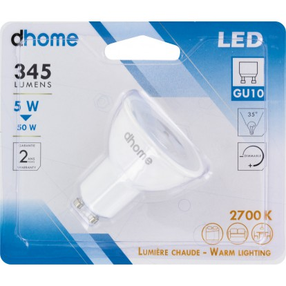 Ampoule LED GU10 dhome - 35° - 345 Lumens - 5 W - 2700 K - Dimmable