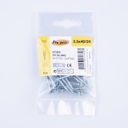Vis à bois tête fraisée TX - 3,5x40/24 - 20pces - Fixpro