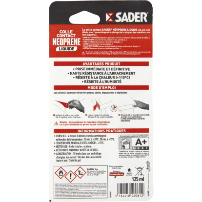 Colle néoprène contact liquide Sader - Tube 125 ml