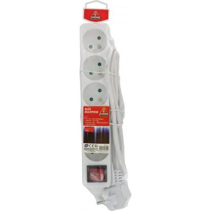 Bloc multiprise standard 3G 1 mm² Dhome - Avec interrupteur - Cordon 1,5 m - 5 x 2P+T