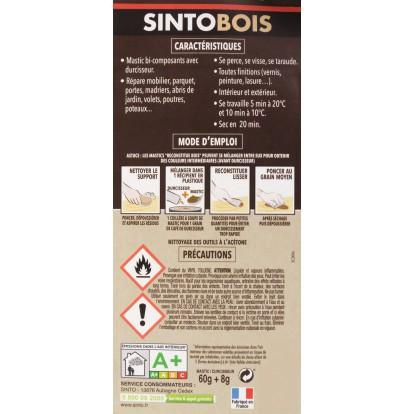 Sintobois mastic à bois avec durcisseur Sinto - Tube 66 ml / 80 g - Sapin