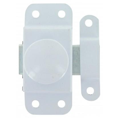 Targette bouton tournant époxy blanc Strauss Vonderweidt - Longueur 25 mm