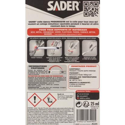 Colle époxy rapide bi-composant Sader - Seringue 25 ml
