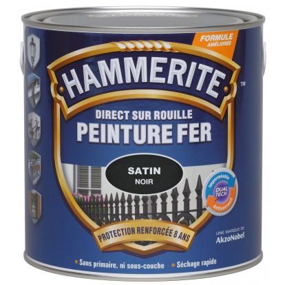 Peinture satinée noire Hammerite - 250 ml
