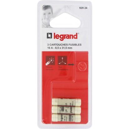 Cartouche domestique à voyant Legrand - Avec témoin de fusion - Intensité 16 A - Vendu par 3