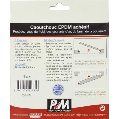 Joint caoutchouc profil V PVM - Blanc - Longueur 10 m