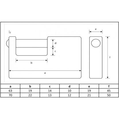 Cadenas laiton de sureté rectangulaire Abus - Anse 14 mm - Longueur 63 mm