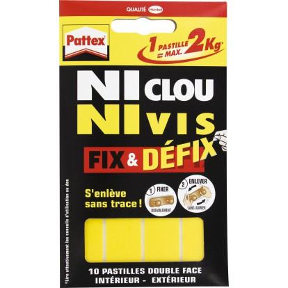 Ni clou ni vis Pattex - Résistance 2 kg par pastille - Blanc
