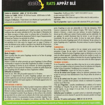 Raticide appât blé Acto - 7 sachets de 20 g