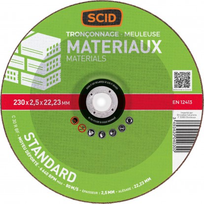 Disque à tronçonner standard SCID - Matériaux - Diamètre 230 mm - Alésage 22,2 mm