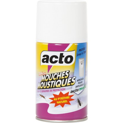 Recharge aérosol 250 ml pour diffuseur électrique d'insecticide mouches et moustiques Acto