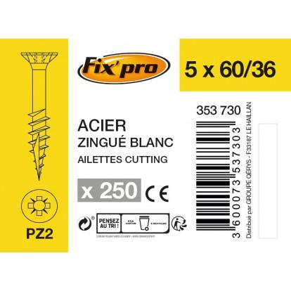 Vis à bois tête fraisée PZ - 5x60/36 - 250pces - Fixpro