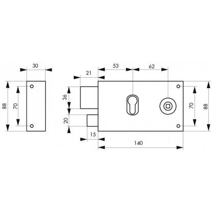 Serrure horizontale pour cylindre à fouillot Thirard - Noir - Gauche - Section 6 mm