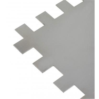 Platoir lame acier inoxydable dentée sur deux cotés Outibat - Denture de 10 x 10 - Dimensions 280 x 120 mm