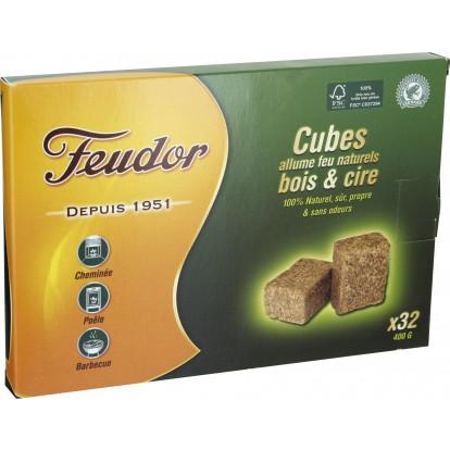 Cubes bois et cire Feudor - 32 allume-feu