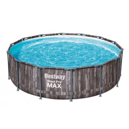 Piscine hors sol ronde Steel Pro Max™  Bestway -  427 x 107 cm - Décor bois
