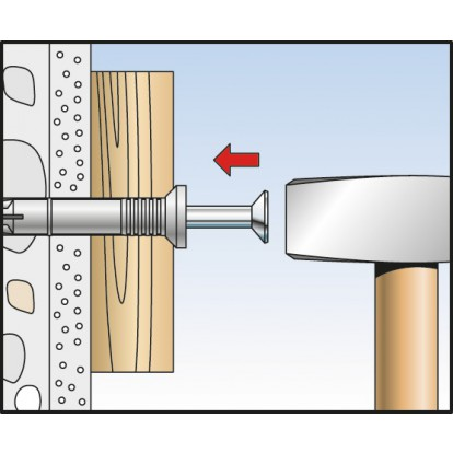 Cheville à frapper - 80 mm - Ø 8 mm - N-S - Boîte de 50 pièces - Fischer