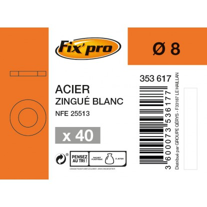 Rondelle plate acier zingué - Ø8mm - 40pces - Fixpro