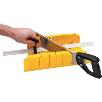 Boîte à coupe en plastique + scie à dos Stanley - Longueur 300 mm