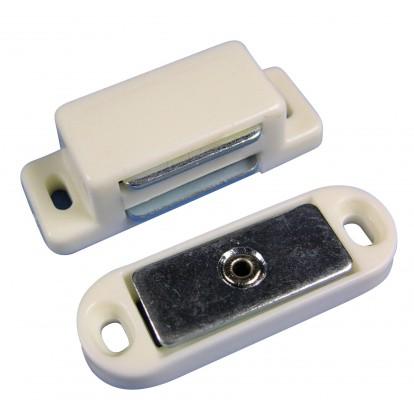 Loqueteau magnétique 4 kg Strauss Vonderweidt - Blanc - Entraxe 36,5 mm - Longueur 44,5 mm - Vendu par 2