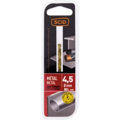 Foret métal HSS titane SCID - Longueur 80 mm - Diamètre 4,5 mm