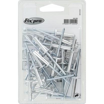 Rivet aveugle aluminium / acier tête plate large Fix'Pro - Longueur 24 mm - Diamètre 4,8 mm - Vendu par 25