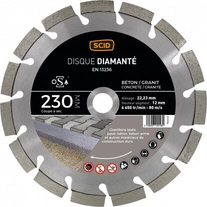 Disque diamanté béton granit professionnel SCID - Diamètre 230 mm