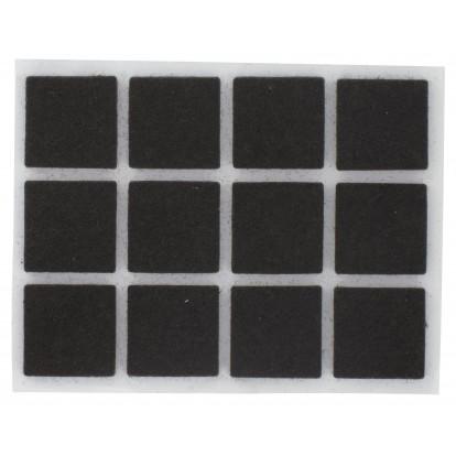 Patin feutre marron adhésif PVM - Dimensions 25 x 25 mm - Vendu par 9