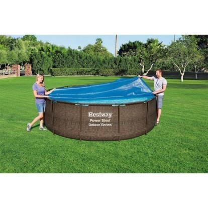 Bâche solaire pour piscine ronde Fast Set et Steel Pro Bestway - Diamètre 3,56 m