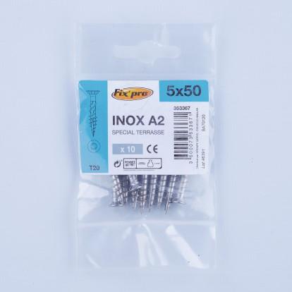 Vis terrasse inox A2 - 5x50 - 10pces - Fixpro