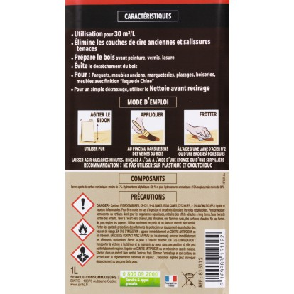 Décapant cire extra-fort Sinto - 1 l