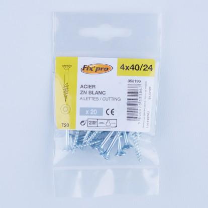 Vis à bois tête fraisée TX - 4x40/24 - 20pces - Fixpro