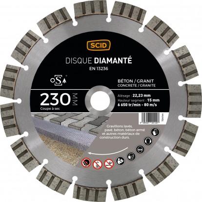 Disque diamanté béton granit prestige SCID - Diamètre 230 mm