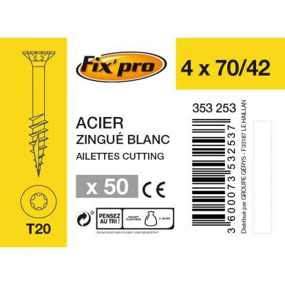 Vis à bois tête fraisée TX - 4x70/42 - 50pces - Fixpro