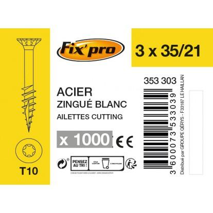 Vis à bois tête fraisée TX - 3x35/21 - 1000pces - Fixpro